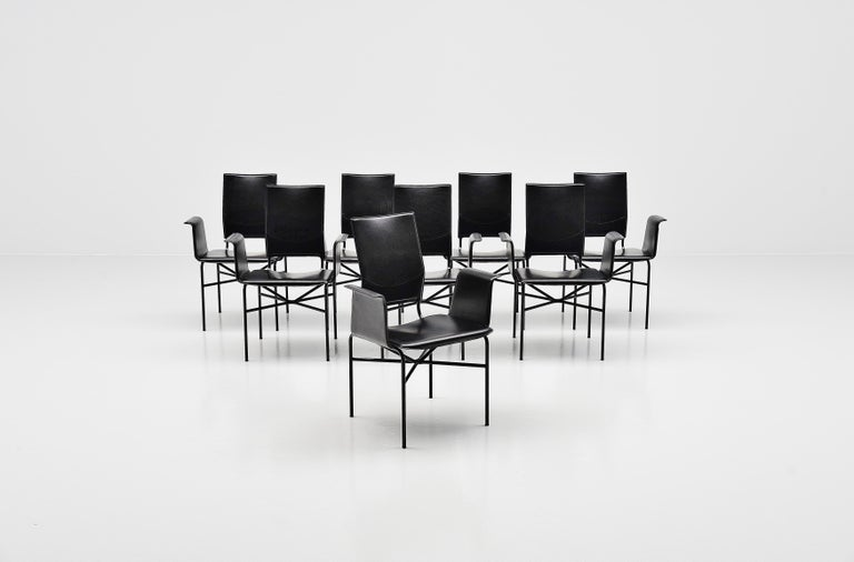 Matteo Grassi Dining Chairs Black Leather, Italy, 1975 In Good Condition For Sale In Roosendaal, Noord Brabant