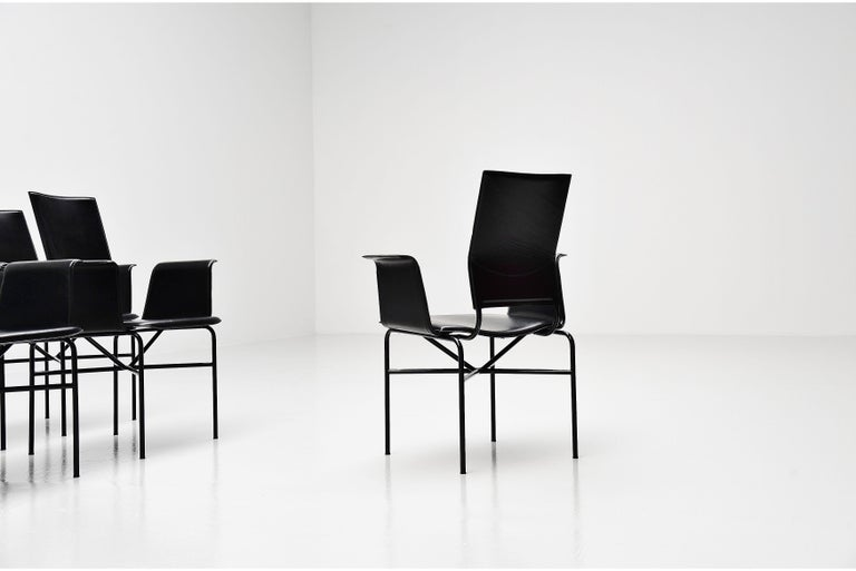 Late 20th Century Matteo Grassi Dining Chairs Black Leather, Italy, 1975 For Sale