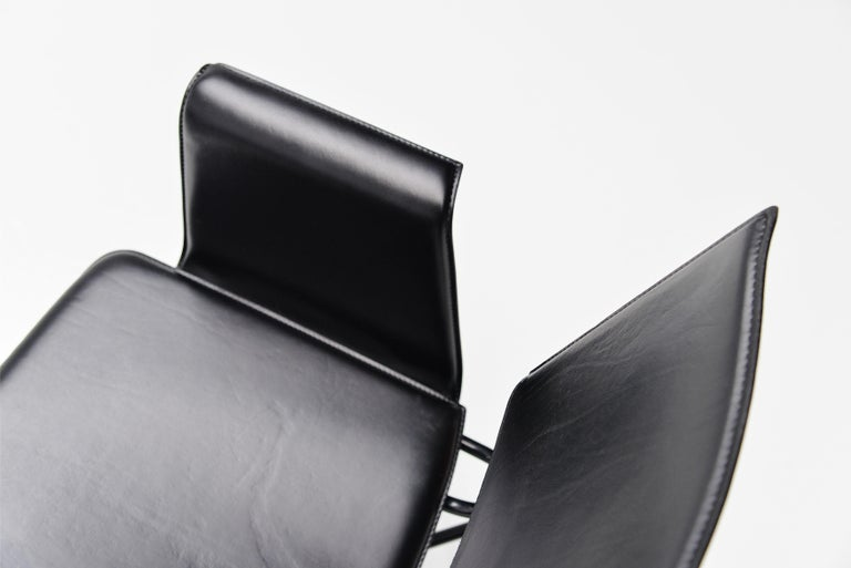 Matteo Grassi Dining Chairs Black Leather, Italy, 1975 For Sale 1