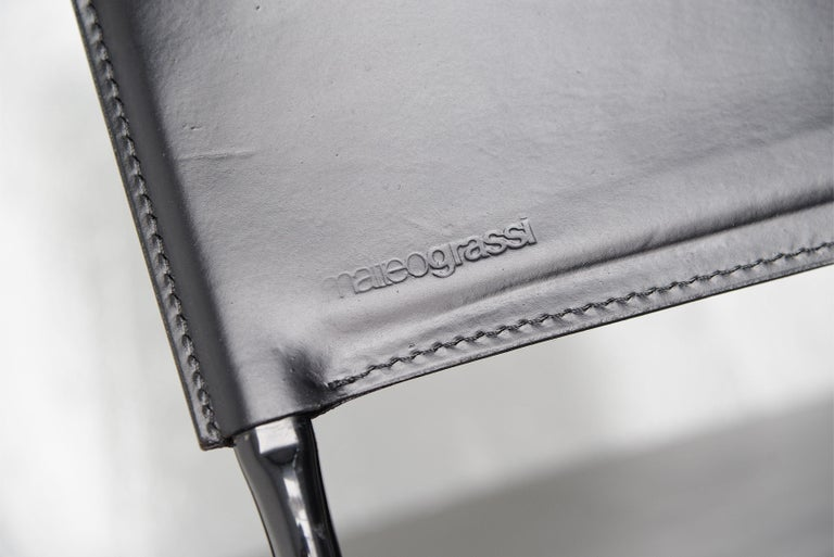 Matteo Grassi Dining Chairs Black Leather, Italy, 1975 For Sale 2