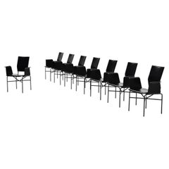 Matteo Grassi Dining Chairs Black Leather, Italy, 1975