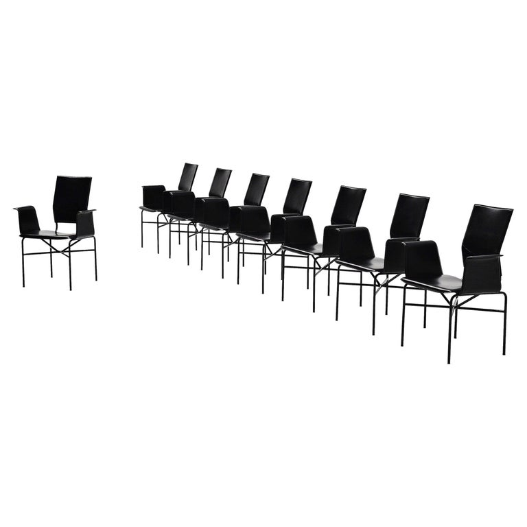 Matteo Grassi Dining Chairs Black Leather, Italy, 1975 For Sale