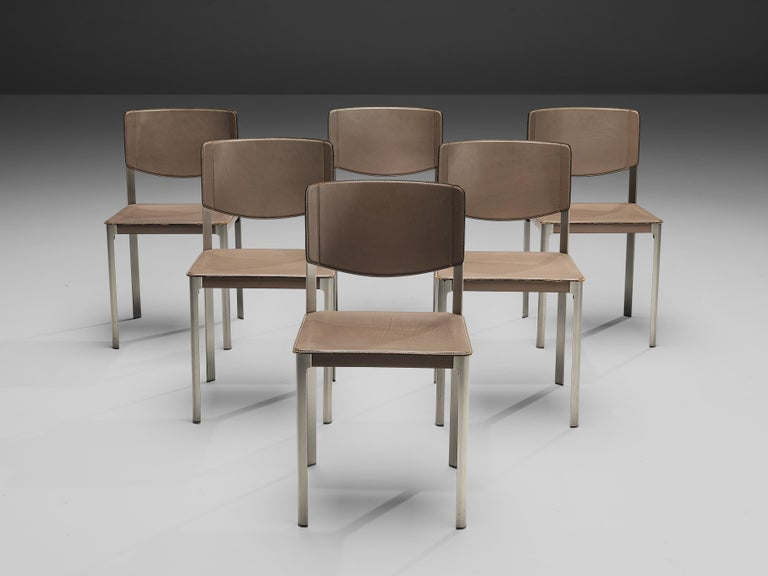 Matteo Grassi Dining Chairs in Leather and Steel For Sale 4