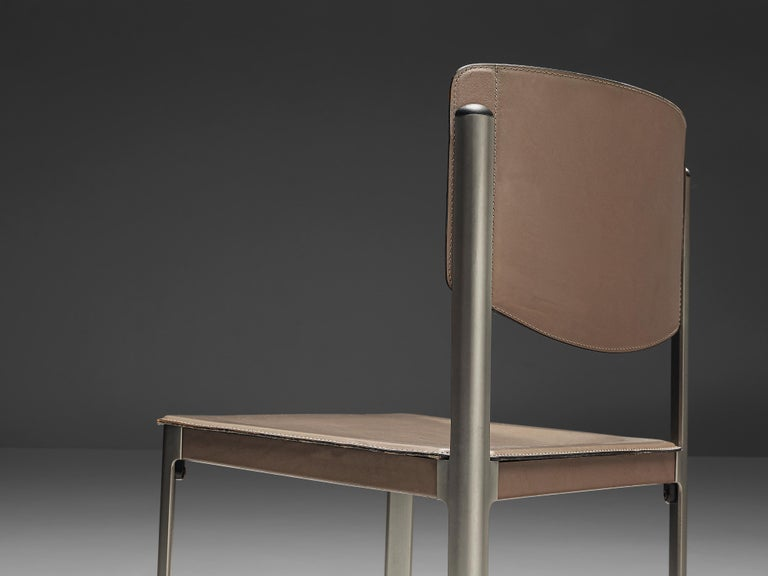 Matteo Grassi Dining Chairs in Leather and Steel For Sale 5