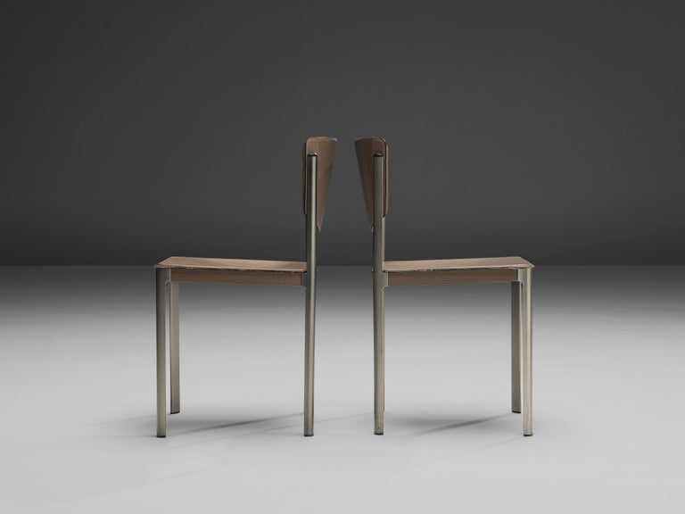 Matteo Grassi Dining Chairs in Leather and Steel For Sale 6