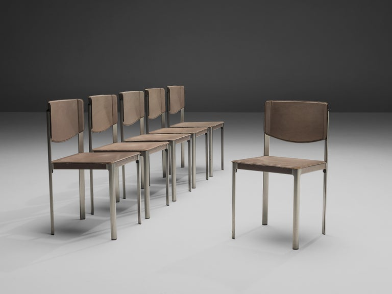 Matteo Grassi Dining Chairs in Leather and Steel For Sale 8