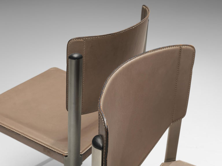 Post-Modern Matteo Grassi Dining Chairs in Leather and Steel For Sale
