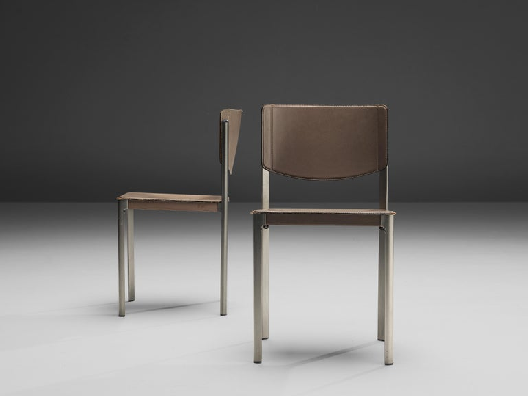 Italian Matteo Grassi Dining Chairs in Leather and Steel For Sale
