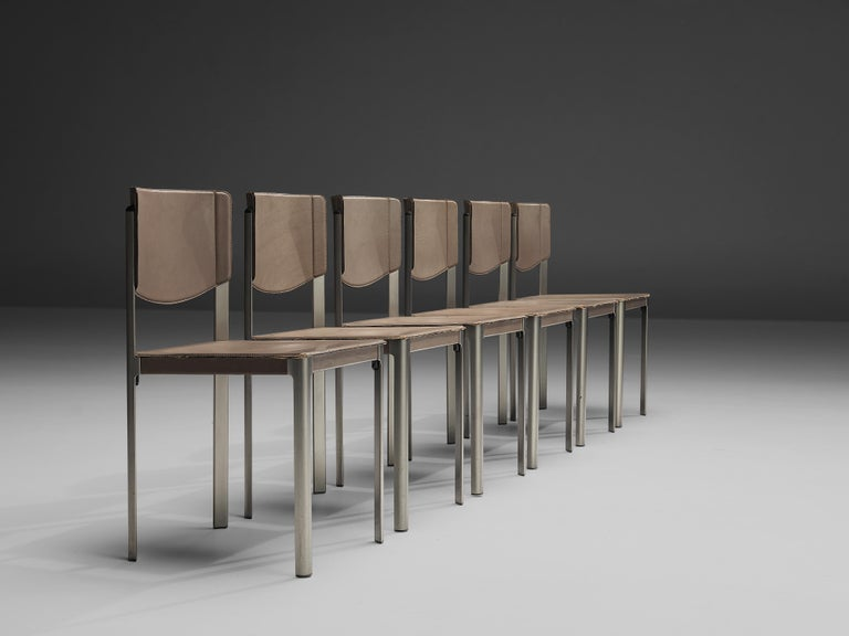 Matteo Grassi Dining Chairs in Leather and Steel In Good Condition For Sale In Waalwijk, NL