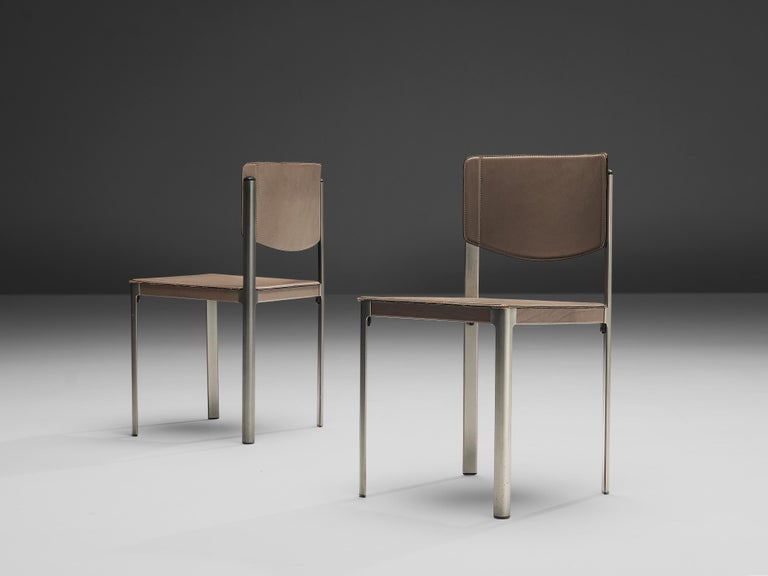 Late 20th Century Matteo Grassi Dining Chairs in Leather and Steel For Sale
