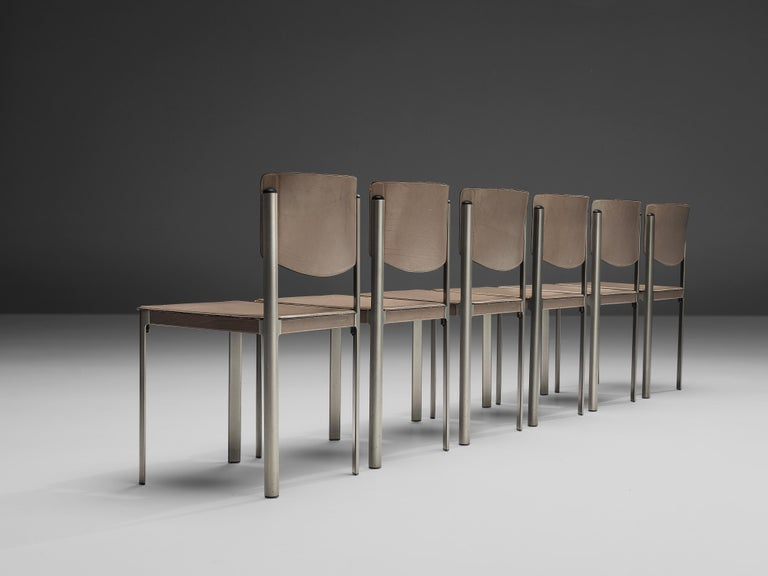 Matteo Grassi Dining Chairs in Leather and Steel For Sale 2