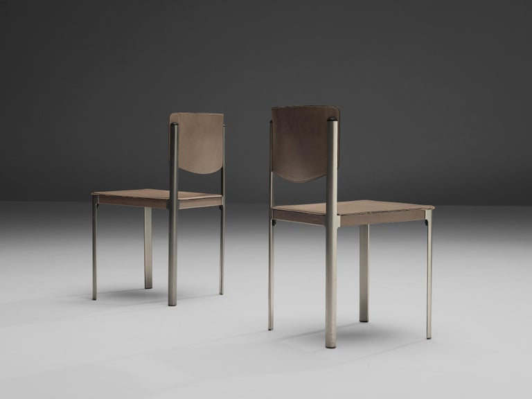 Matteo Grassi Dining Chairs in Leather and Steel For Sale 3