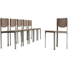 Matteo Grassi Dining Chairs in Leather and Steel