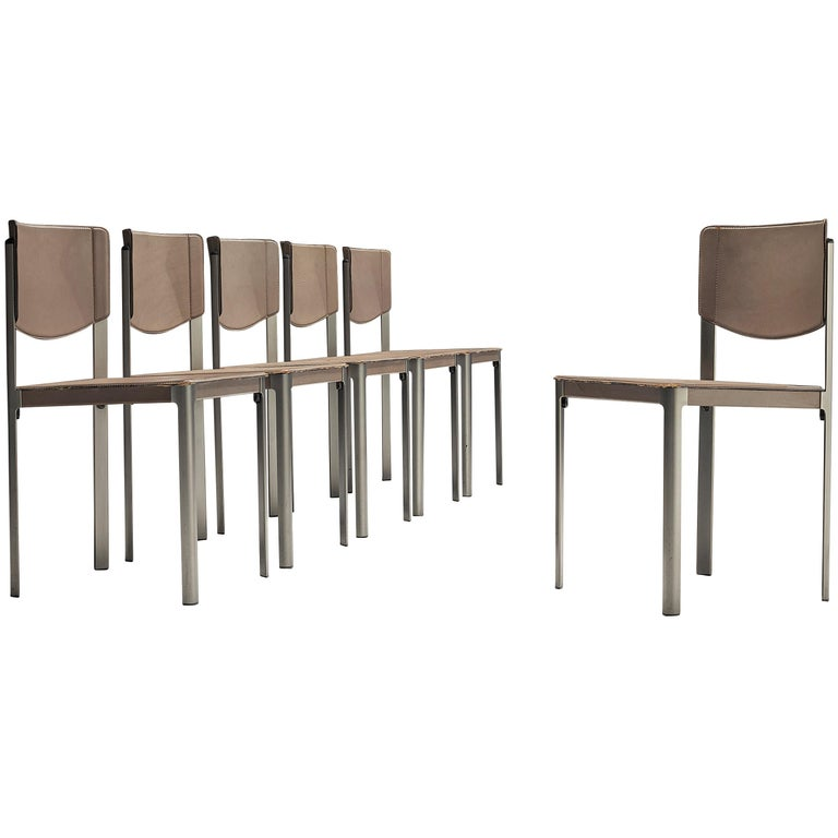 Matteo Grassi Dining Chairs in Leather and Steel For Sale