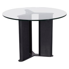 Matteo Grassi Korium Designer Coffee Table Leather Glass Table Glass Table