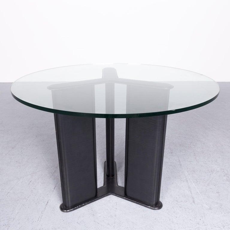Italian Matteo Grassi Korium Designer Leather Glass Table Coffee Table Black