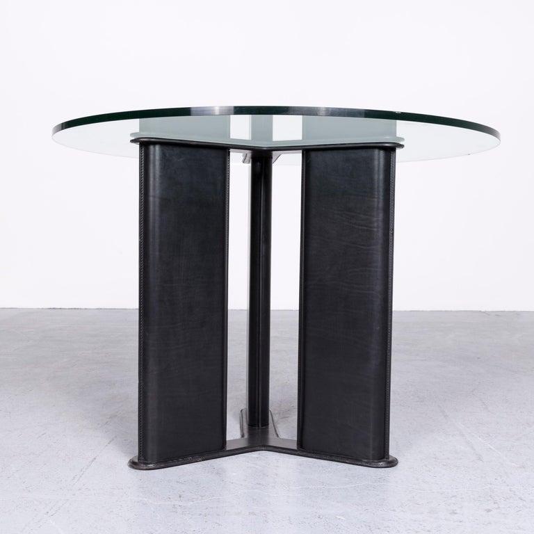 Matteo Grassi Korium Designer Leather Glass Table Coffee Table Black In Fair Condition In Cologne, DE