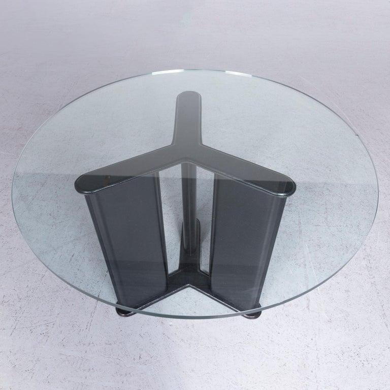 Contemporary Matteo Grassi Korium Designer Leather Glass Table Coffee Table Black