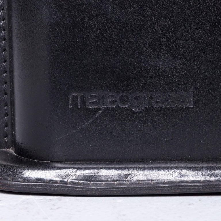 Matteo Grassi Korium Designer Leather Glass Table Coffee Table Black 3