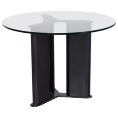 Matteo Grassi Korium Designer Leather Glass Table Coffee Table Black