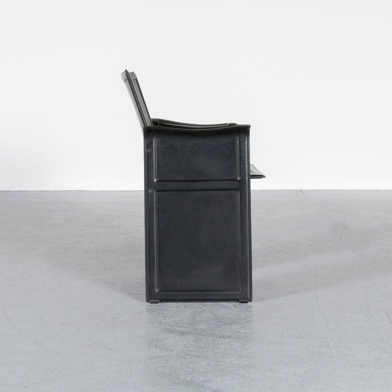 Contemporary Matteo Grassi Korium KM1 Leather Chair Black One-Seat