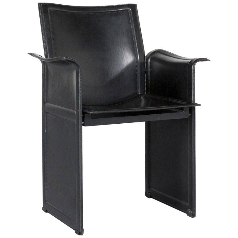 Matteo Grassi Korium KM1 Leather Chair Black One-Seat