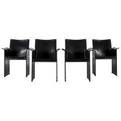 Matteo Grassi Korium KM1 Leather Chair Set Black One-Seat