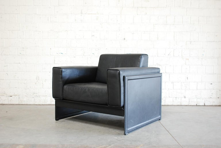Matteo Grassi Korium Leather Armchair or Chair Korium by Tito Agnoli For Sale 11