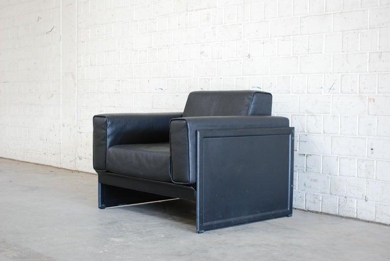 Italian Matteo Grassi Korium Leather Armchair or Chair Korium by Tito Agnoli For Sale