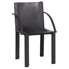 Matteo Grassi Leather Chair Black Vintage Armchair