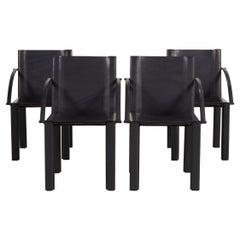 Matteo Grassi Leather Chair Set Black Vintage Armchair Set