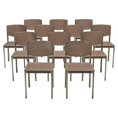 Matteo Grassi Set of Twelve Dining Chairs in Leather and Steel