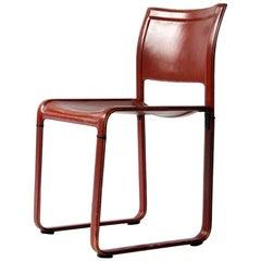 "Matteo Grassi ""Sistina"" Strap Red Leather Chair"