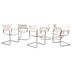 Matteo Grassi Style Set of 6 White Leather Chairs