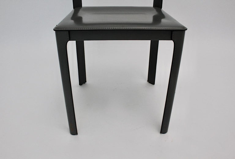 Matteo Grassi Vintage Grey Leather Chair or Side Chair, 1980s, Italy For Sale 4