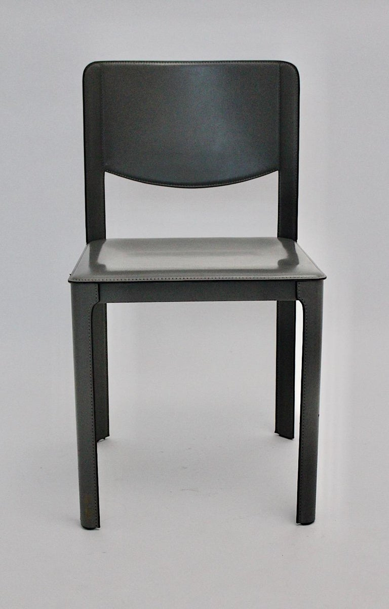 Matteo Grassi Vintage Grey Leather Chair or Side Chair, 1980s, Italy For Sale 6