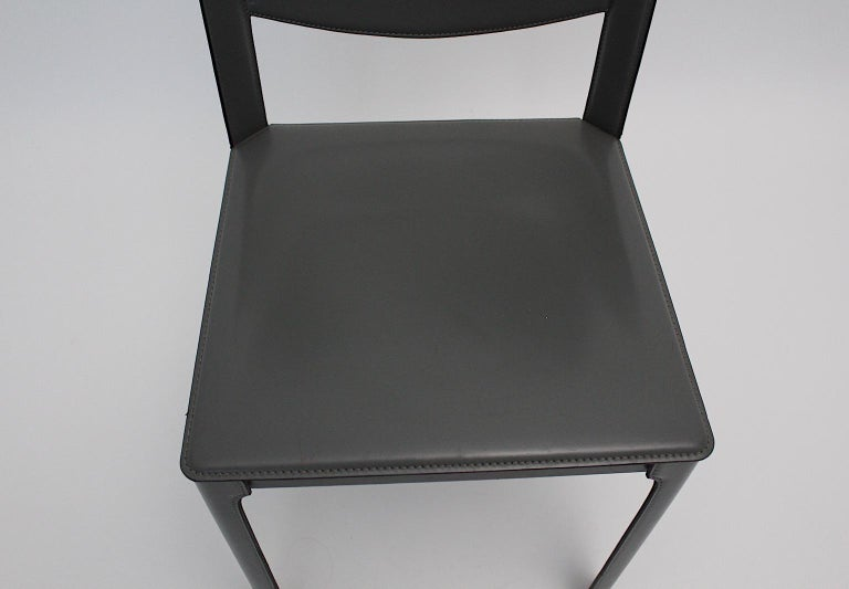Matteo Grassi Vintage Grey Leather Chair or Side Chair, 1980s, Italy For Sale 7