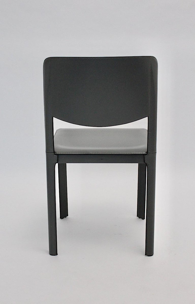Modern Matteo Grassi Vintage Grey Leather Chair or Side Chair, 1980s, Italy For Sale