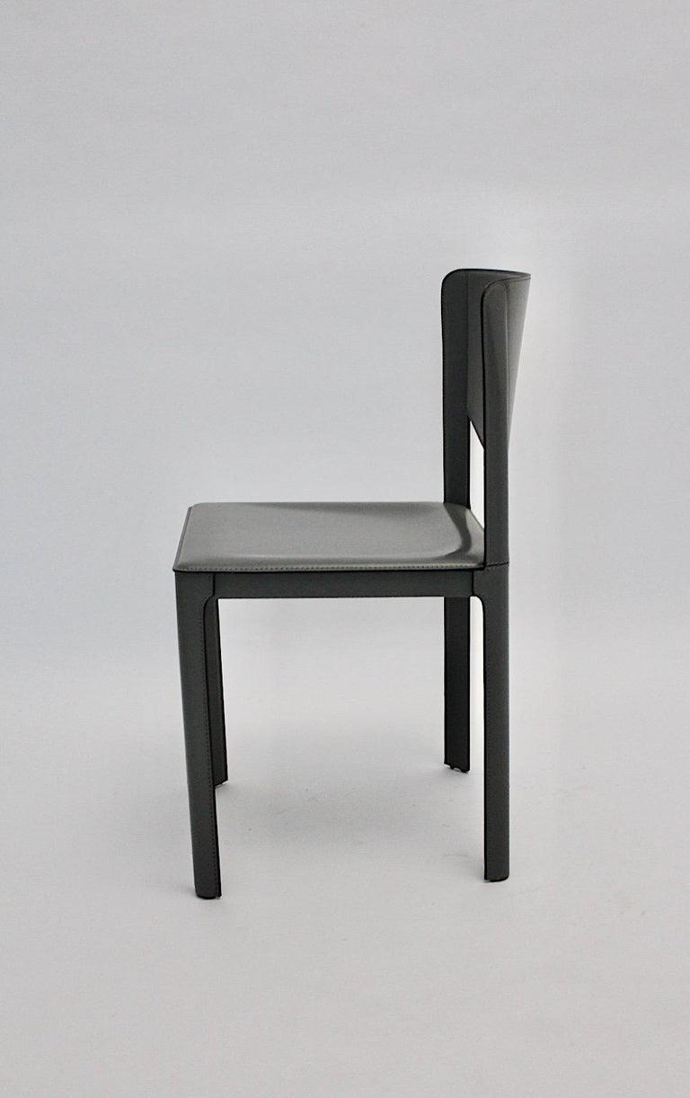 Italian Matteo Grassi Vintage Grey Leather Chair or Side Chair, 1980s, Italy For Sale