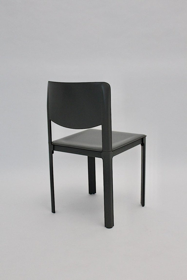 Matteo Grassi Vintage Grey Leather Chair or Side Chair, 1980s, Italy In Good Condition For Sale In Vienna, AT