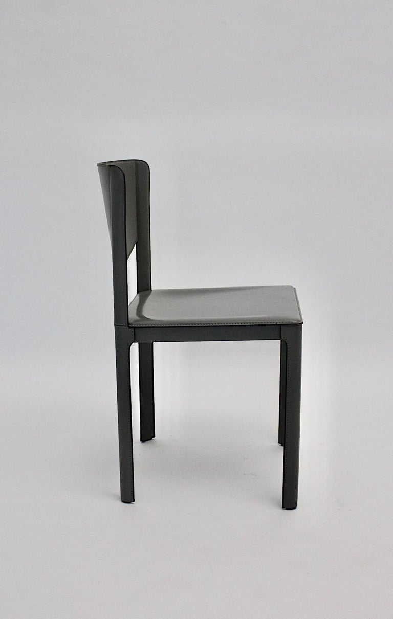 Late 20th Century Matteo Grassi Vintage Grey Leather Chair or Side Chair, 1980s, Italy For Sale