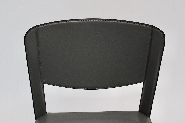 Matteo Grassi Vintage Grey Leather Chair or Side Chair, 1980s, Italy For Sale 3