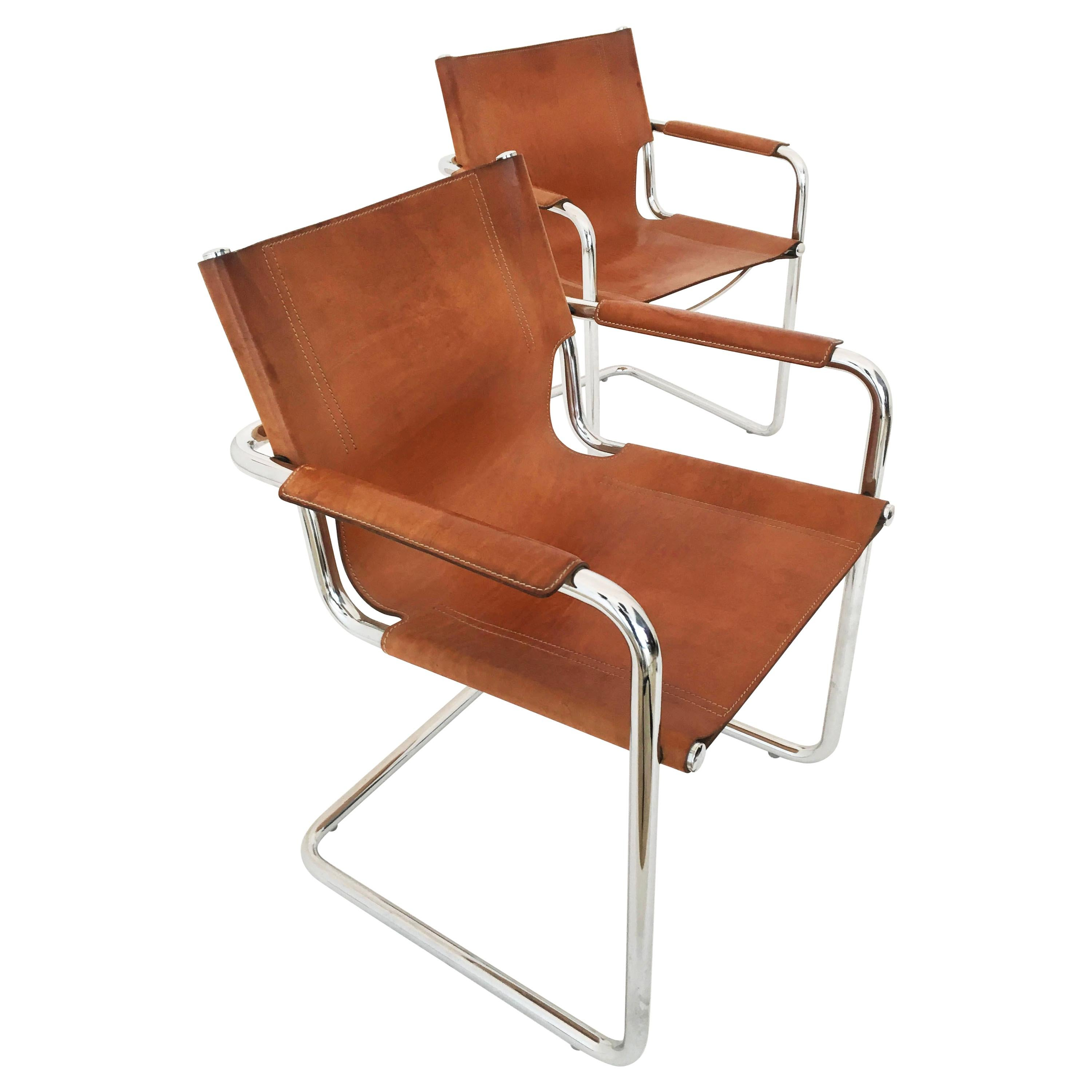Matteo Grassi Model 'Visitor' Chairs in Patinated Cognac Leather, Italy 1970s