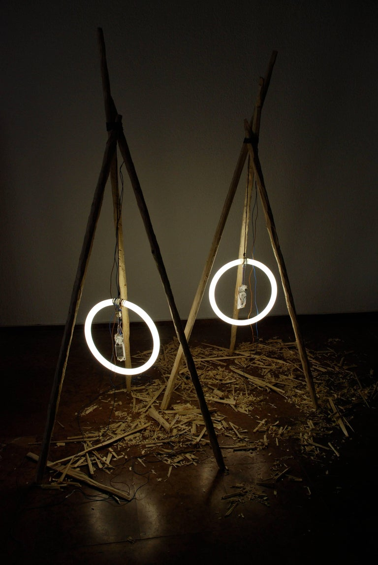 Mexican Sculptural Floor Lamp Wood Neon Contemporary Style For Sale