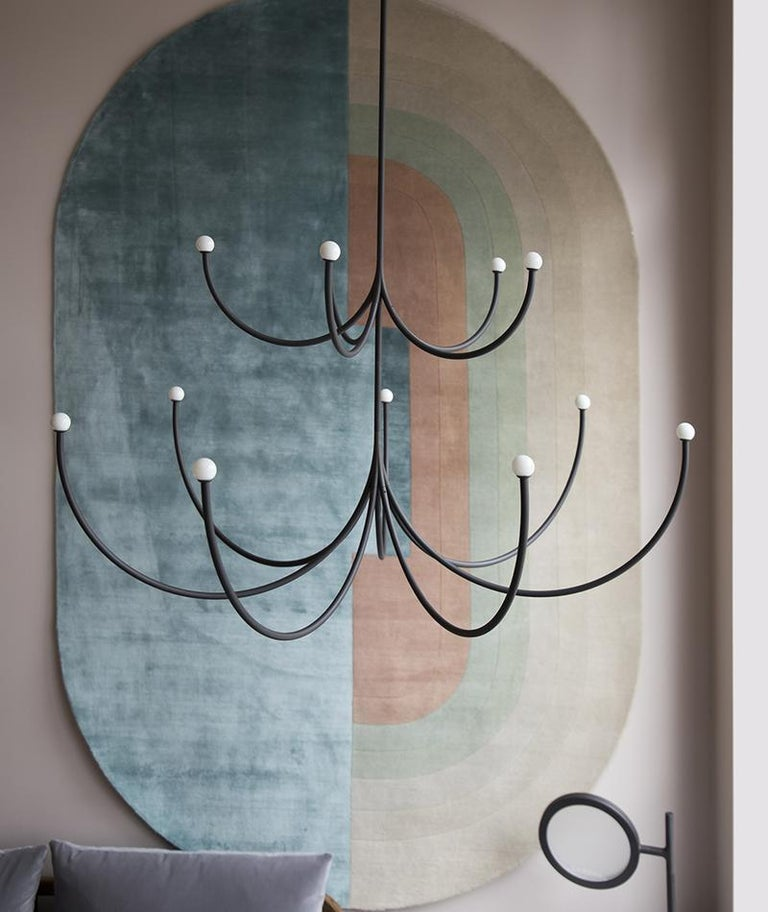Modern Matter Made Arca Medium Two-Tier Chandelier in Blackened Brass Satin Finish For Sale