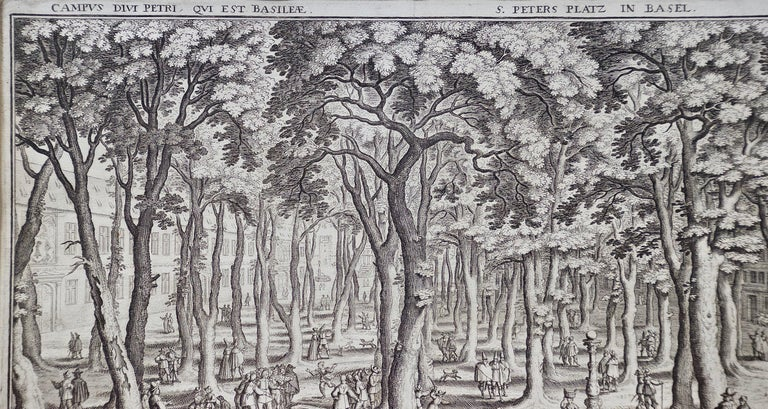 17th Century Engraving of St. Peter's Square in Basel by Matthäus Merian  For Sale 1