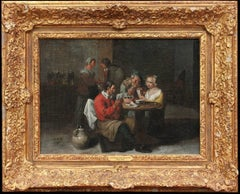 17th Century Flemish Pair of Genre Oil Paintings of Cardplayers & Merrymaking