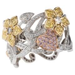 Matthew Cambery 18 Karat Gold Calligraphy Ring White, Yellow and Pink Diamonds