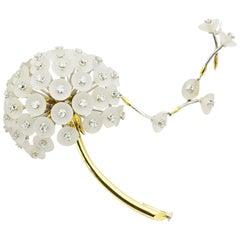 Matthew Cambery 18 Karat Gold Platinum Rock Crystal Diamond Dandelion Brooch