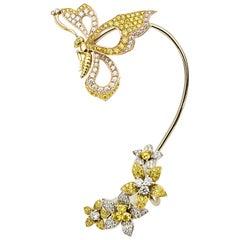 Matthew Cambery 18 Karat Gold White and Yellow Diamond Butterfly Flowers Earcuff
